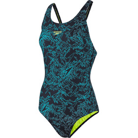 speedo Boom Allover Muscleback Uimapuku Naiset, navy/aquasplash/bright zest